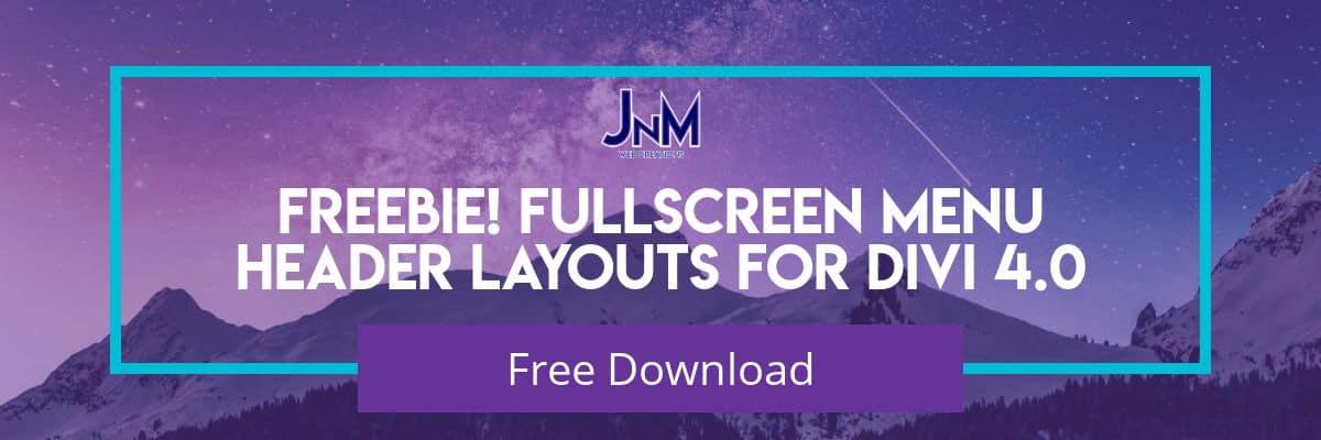 Freebie!! Divi Fullscreen Menu Header Layouts for 4.0!